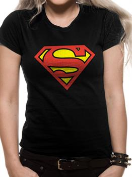 SUPERMAN LOGO - Fitted T-Shirt Black Small