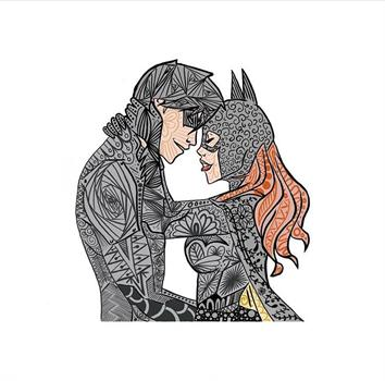 Nightwing and Batgirl Hand Drawn Print A4