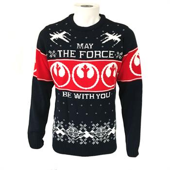 May the Force (Rebel Logo - Blue) Xmas Jumper - XL